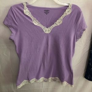 Casual Corner Annex Lavender Lace SS Tee Size M